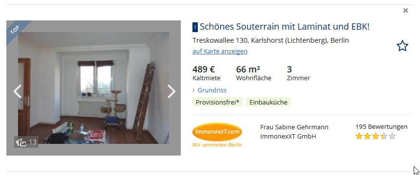 search result design patterns: immobilienscout24.de